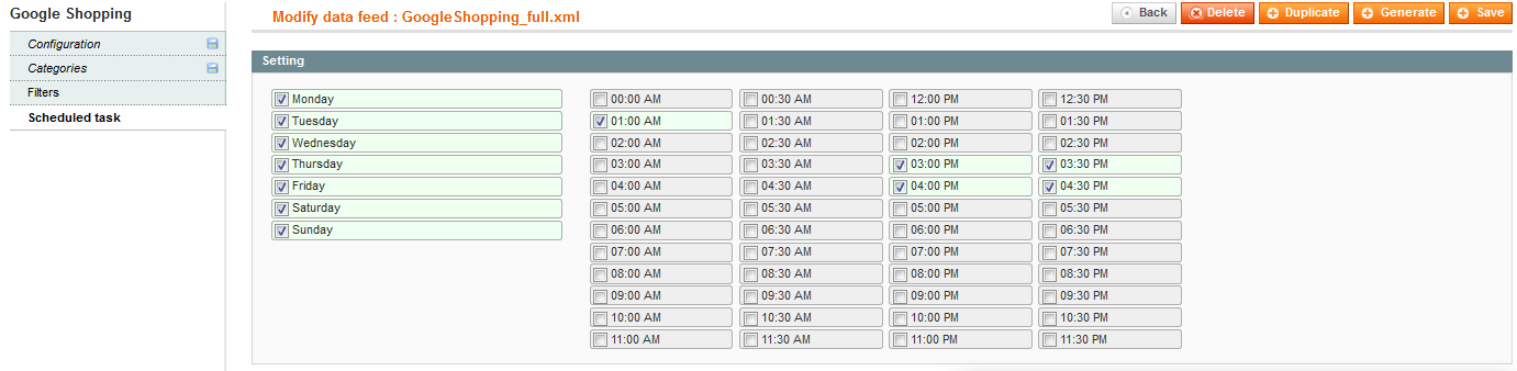 then you have to select in the scheduled task tab the days and time frames when you want the data feed to be updated